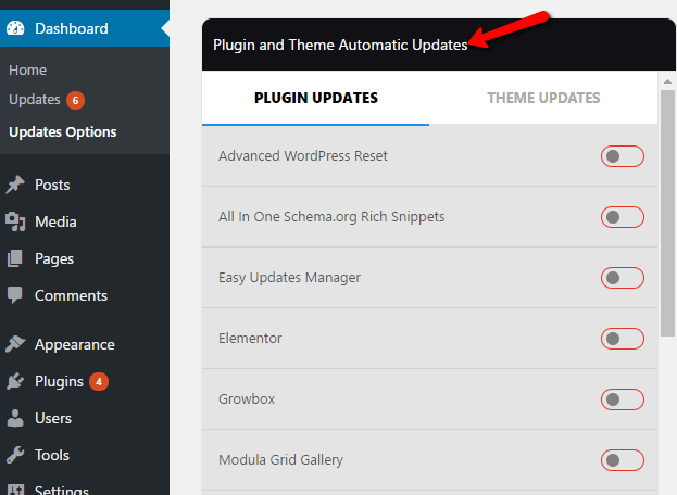 Enable or Disable Themes and Plugins Updates