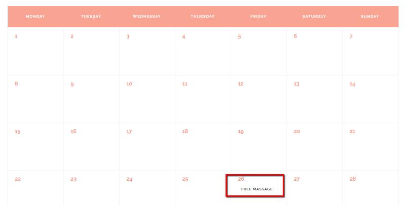 Jacqueline Events Calendar