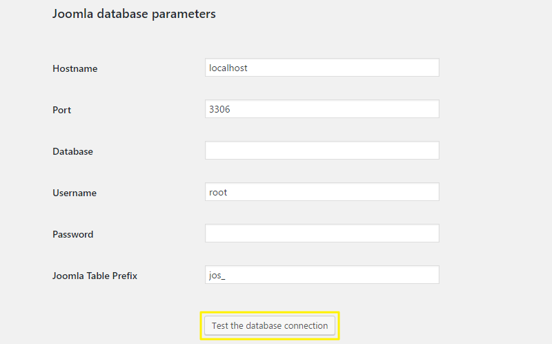 Joomla Database information