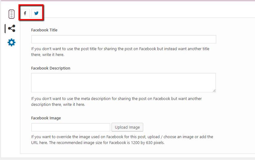 Yoast social media settings