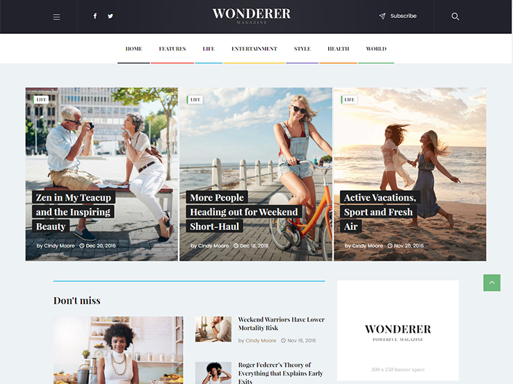 Wonderer – Personal Blog & Review Magazine WordPress Theme