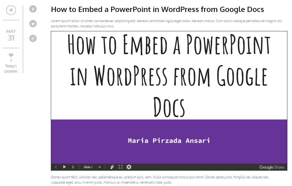 Preview Google Slides in WordPress