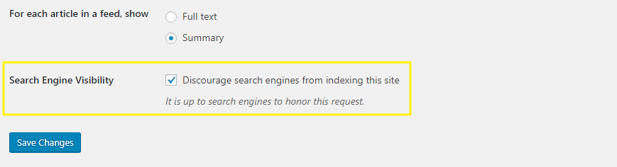 Search Engine Visibility settings