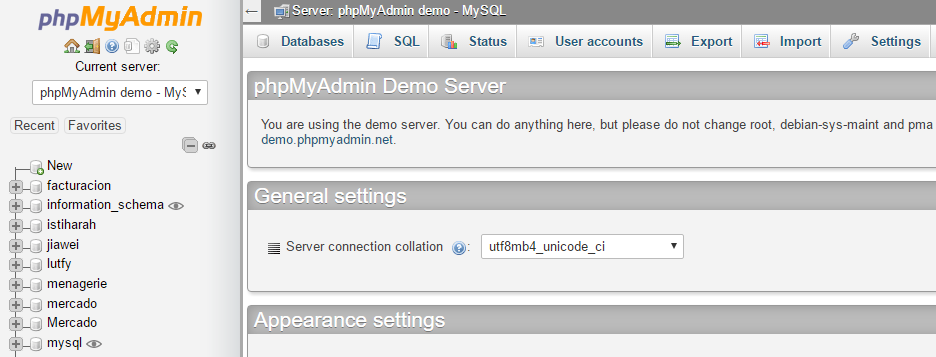 The phpMyAdmin tool.