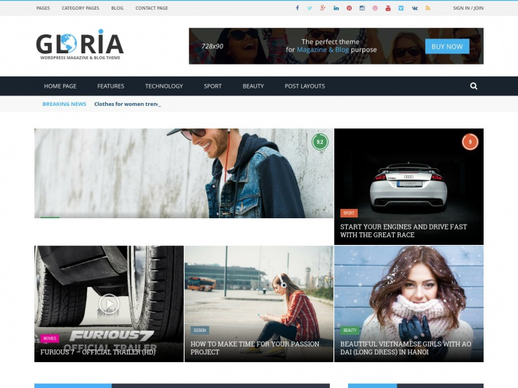 Gloria - WP Magazine & Blog Theme