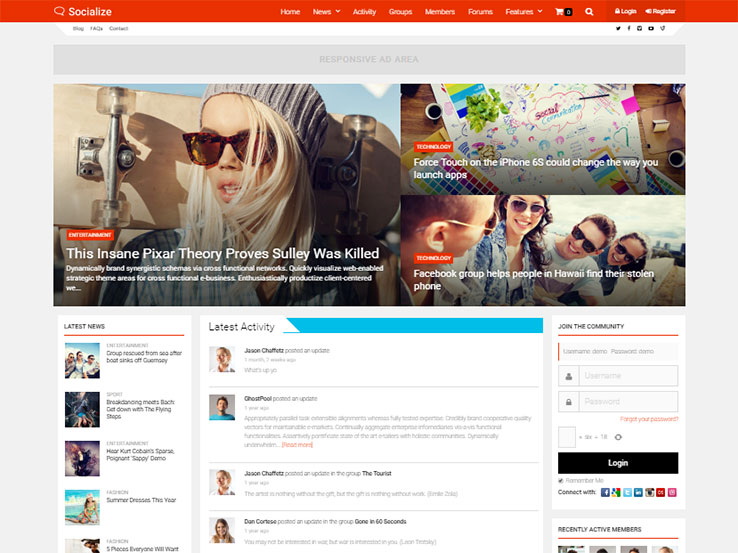 Socialize: multipurpose BuddyPress Theme