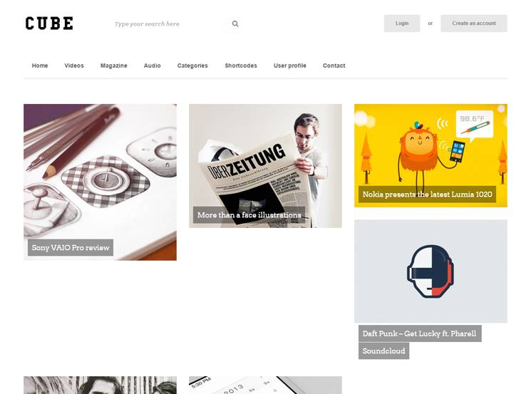 Cube: Front-end Multimedia Publishing Theme