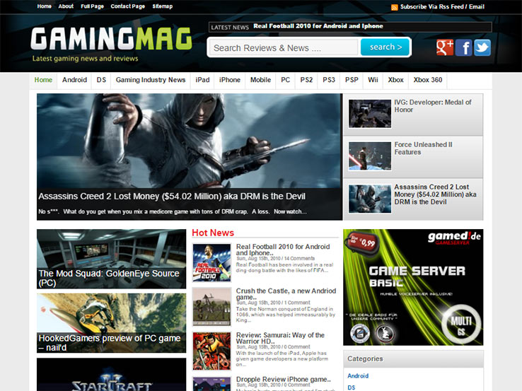 GamingMag News Theme