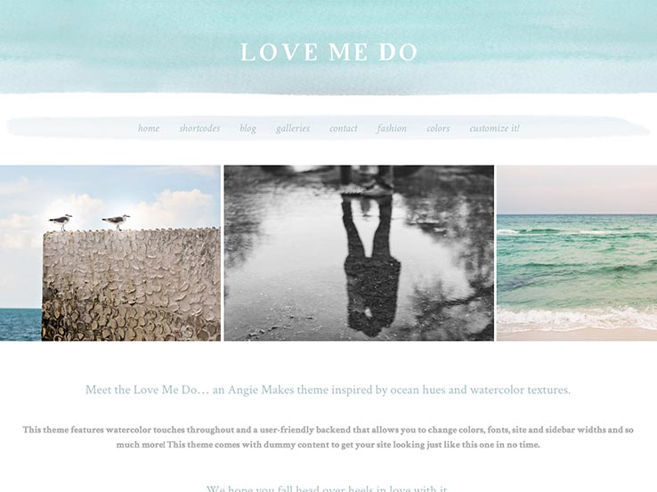 The Love Me Do Watercolor WordPress Theme