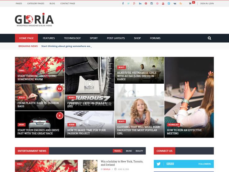 Gloria - WP Magazine & Blog Theme