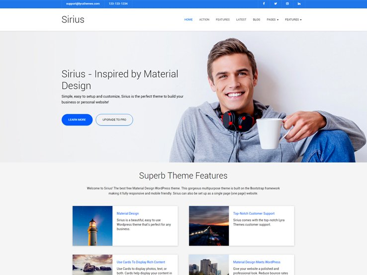 60 free business wordpress themes 2018 hosting details demo sirius is a free business wordpress wajeb Image collections