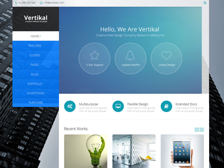 11+ Vertical menu WordPress Themes 2019