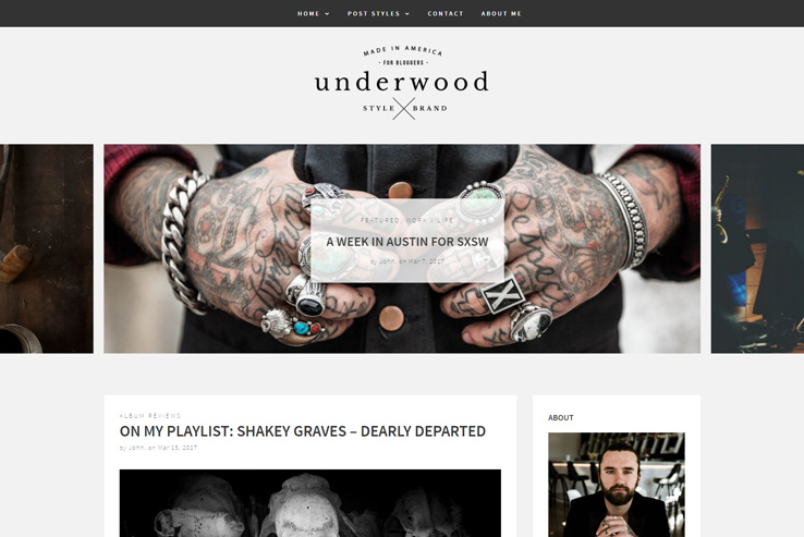 Underwood Blogging Theme